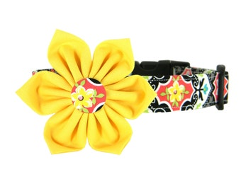 Yellow Black Red Flower Dog Collar Set, Dog Flower Collar: Charming Garden