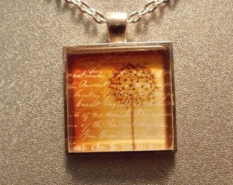 Glass Tile Necklace- Seeded Dandelion