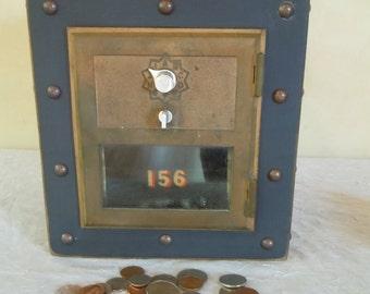 Samson Mannly Steampunk Post office Box Piggy #12 Black with Brass door- CUSTOM ORDER