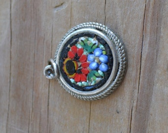 Lovely vintage victorian style Italian glass micromosaic with red and black floral / flower pattern in silver pendant setting