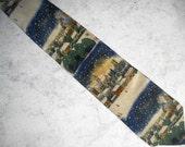 Vintage Designer Necktie / Winter Landscape / Bucolic Snowscene / 100% Silk / Rare Novelty Necktie