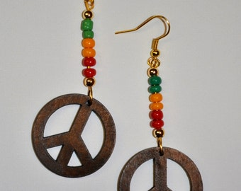 Earrings with wooden PEACE Pendant with Rasta Beads or other