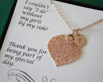 Bridesmaid Necklace Leaf Personalized, Bridesmaid Gift, Real Leaf Necklace,Initial Rose Gold Filled Charm