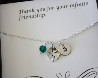 2 Bridesmaid Lucky Initial Necklaces, Four Leaf Clover Personalized Necklaces, Irish, Sterling Silver, Birthstone, Thank You Card