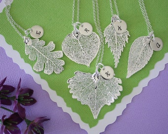 11 Silver Leaf Personalized Bridesmaids Gift, Bridesmaid Necklace, Real Leaf, Initial Jewelry, Sterling Silver Charm