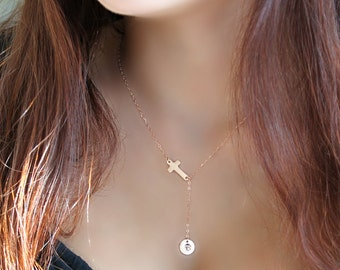 14k rose gold filled Cross Lariat necklace, custom stamped initial disc, personalized monogram letter, pink gold, bridesmaids gift