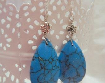 Turquoise Teardrop Earrings, Silver Earrings