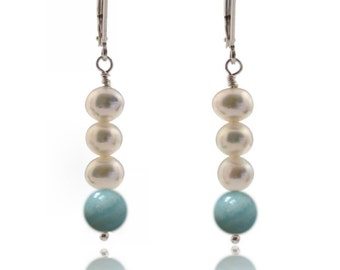 Creamy White Freshwater Pearl Lever Back Earrings with Sea Foam Aqua Amazonite Gemstone Pure Sterling Silver