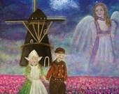 Original Fine Art 8 by 12 Angel print,The Netherlands, Windmill, tulips, Wall Art, pink, Girl's Room, Pink Tulips, Guardian angel Angel