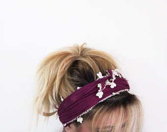 Purple Cotton Spring Headband, Hairband, Crochet Hairband, Women's Head Wrap, Hair Accessories, For Women, For Her