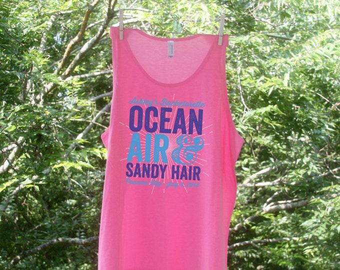 Ocean Air & Sandy Hair Group Sets -Personalized Bachelorette Beach Tanks-TW