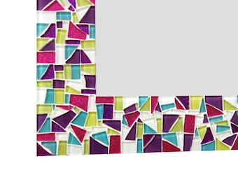 Large Mosaic Wall Mirror in Pink, Purple, Lime Green, Aqua Glitter -- Perfect for Teen's Room