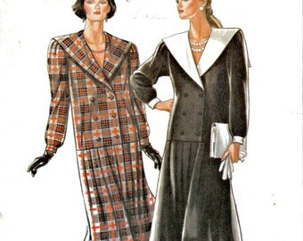 80's Does 20's Drop Waist Double Breasted Shawl Collar Dress Downton Abbey Style New Look 6904 Size 8 - 18