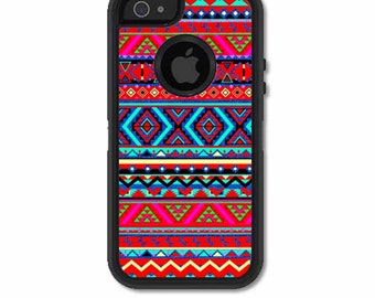 Skin FOR the OtterBox Defender Case for iPhone 5 or 5S - Neon Aztec design, purple red - Free Shipping - OtterBox Case NOT included