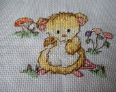Mouse completed Cross stitch picture. Woodland Animals. Nursery Picture. Hand stitched Baby Shower gift,Nursery gift. Waldorf