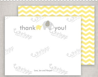 Yellow Elephant Customized Thank You Notes