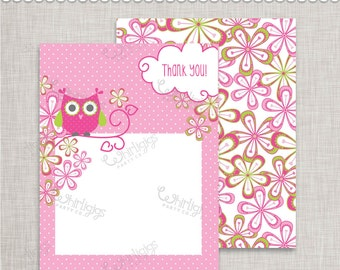Owl Thank You Notes INSTANT DOWNLOAD d.i.y. Printable PDFs