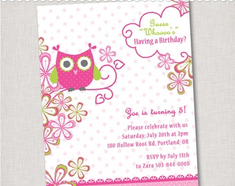"Owl Birthday Invitation - ""Whoo's Birthday"" - Digital File or Printed Invitations with Envelopes - FREE SHIPPING"