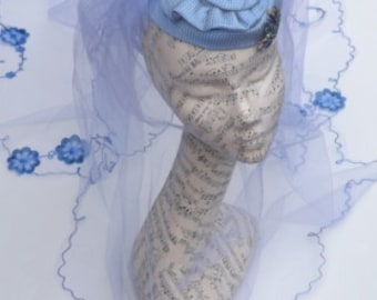Something Blue - Blue Vintage Inspired Hat With Baby Blue Veil, In Two Teirs