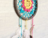 Crochet Floral Dreamcatcher with Feathers - Decor