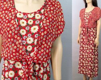 Vintage 90's Dress Medium 80s Dress Floral Dress Vintage 90's GRUNGE Dress Minimalist Dress Sheer Dress Maxi Dress Hippie Dress Boho Dress