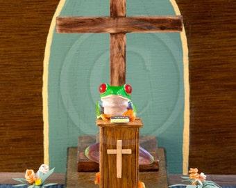 Father Frog, Frog Preaching, Priest, Religion Photo, Religious Frog Art, Religion