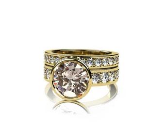 Engagement ring set, morganite ring, white sapphire, peach morganite, morganite engagement, wedding band, sapphire wedding, Yellow gold