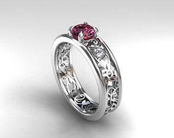 Pink sapphire ring filigree, diamond ring, engagement, lace, Pink engagement, sapphire, wedding ring, bridal, anniversary