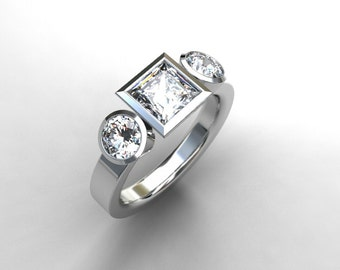 0.60ct Princess cut diamond trinity engagement ring, white gold, yellow gold, square diamond ring, princess cut wedding, bezel engagement