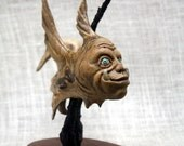 Fantasy Fish Man Wood Carving Hand Carved, Fantasy Art, Sculpture, Wood Spirit By Mike Berlin