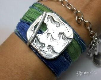 READY to SHIP - SALE - Beach Jewelry  Dancing Seahorses Artisan Silk Wrap Bracelet