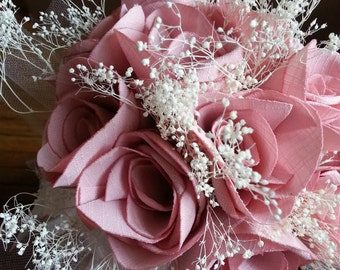 Blush pink Fabric Rose Bouquet