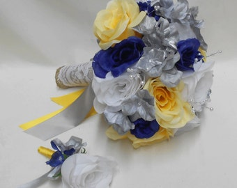 Wedding Navy Blue Yellow Grey silver Bridal Bouquet Silk Flowers Burlap Lace Pearl Bride's Bouquet Groom's Boutonniere FREE SHIPPING