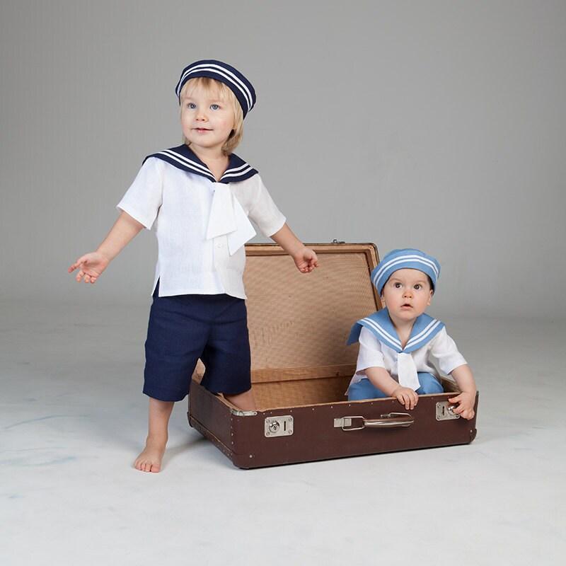 Baby boy sailor outfit nautical wedding boy linen clothes