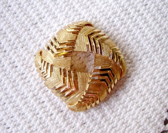 Vintage Monet Brooch Goldtone Chevron Square
