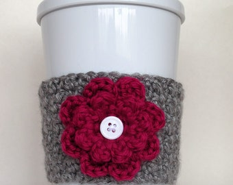 Crochet Flower Coffee Cup Cozy Heather Gray and Berry