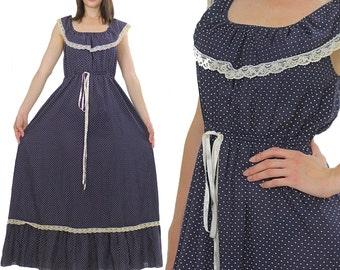 Polka dot dress 70s maxi navy blue Bohemian sleeveless Peasant lace scoop neck Long Gypsy Prairie Medium