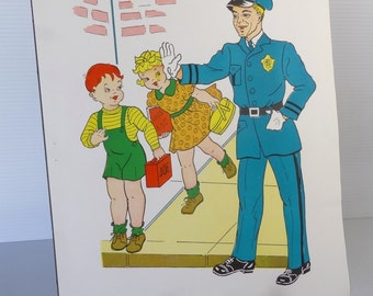 Vintage 1958 Police Officer School Poster - Educational Classroom Community Helpers Series - Hayes School Publishing Co., USA