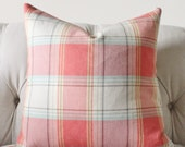 Aqua Orange Coral Pillow - Salmon Plaid Pillow Cover - Summer Throw Pillow - Designer Decorative Pillow - Herringbone Plaid Colorful Pillow