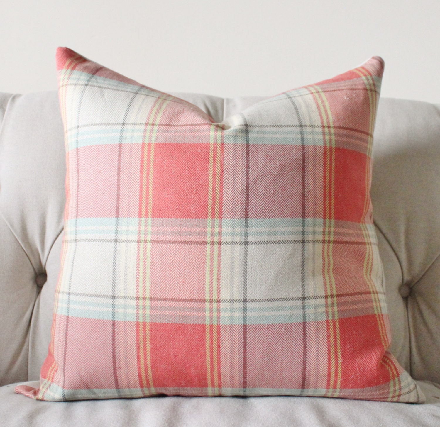 Aqua Orange Coral Pillow Salmon Plaid Pillow Cover Summer