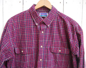 Red Buffalo Plaid Flannel Blue Checkered Long Sleeve Blocked Button Down Shirt
