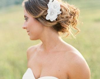 Bridal Flower Headpiece. Bridal Hair Flower Comb. Wedding Hair Piece.