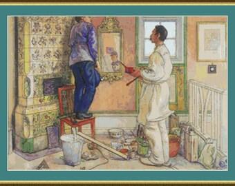 Carpenter And Painter Cross Stitch Pattern