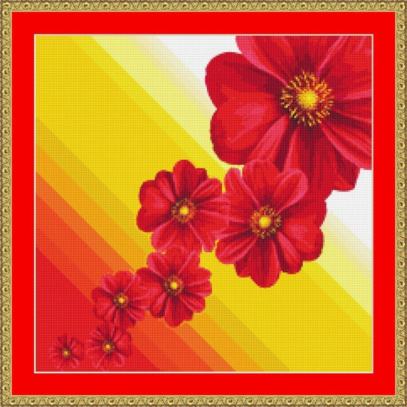 Dahlia Flowers Cross Stitch Pattern /Digital PDF Files /Instant downloadable