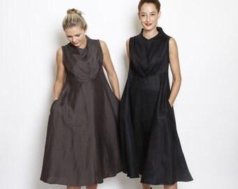 A-Line dress, black dress - cowl neck dress - Knee Length, black \brown\ blue