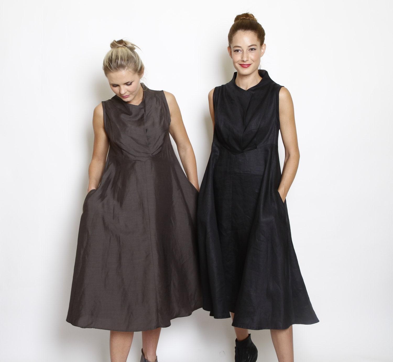 Cowl Dress: A-Line Dress Black Dress Cowl Neck Dress Knee Length