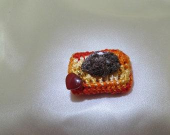 Colorful Pyrite Druzy on Handmade Crochet Display Pillow