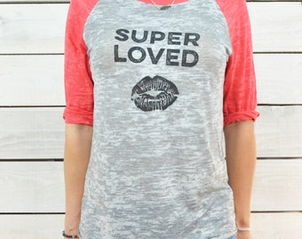 Super Loved  -  Red and Grey Baseball Tee