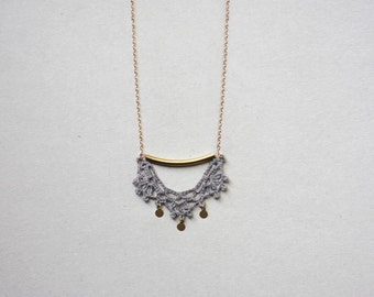 Lace necklace gold and grey with brass, minimal necklace
