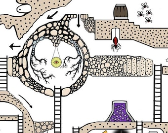 Justinia World 2 (Premium Edition) - Printable hand drawn Dungeons & Dragons style board game map for kids.
